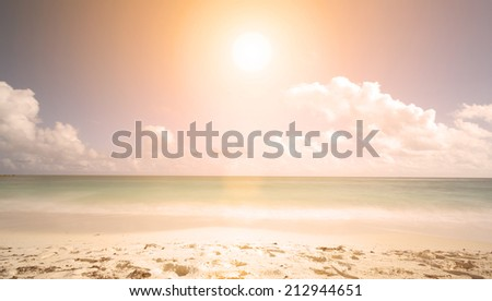 sunset on the beach. minimalist scene - stock photo