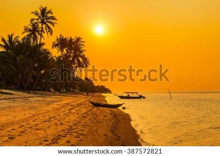 Sunset on the beach of Bang Po. Samui Island. Thailand. - stock photo