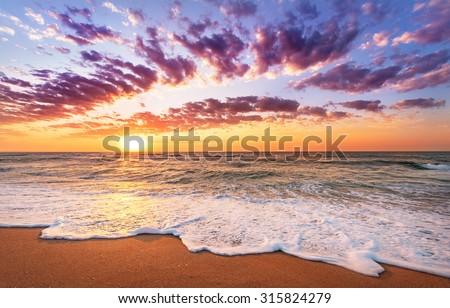 Sunset on the beach of caribbean sea. - stock photo
