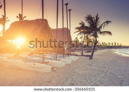 Sunset on the beach of Caribbean sea, Dominican Republic - stock photo