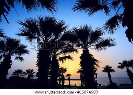 sunset on the beach of Mediterranean sea - stock photo