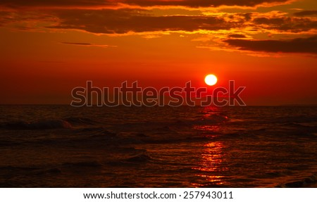 Sunset on the Black sea - stock photo