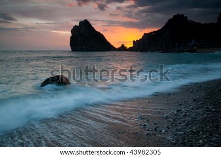 sunset on the Black Sea - stock photo