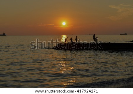 Sunset on the Black Sea coast in Russia