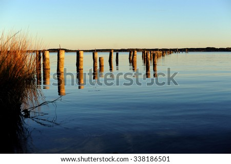 Sunset on the Chesapeake Bay Virginia - stock photo