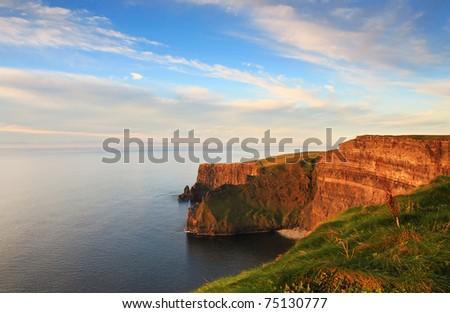 Sunset on the cliffs - stock photo