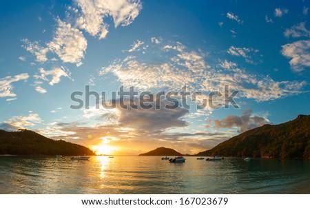 sunset on the coast of Mahe, Seychelles 2013 - stock photo