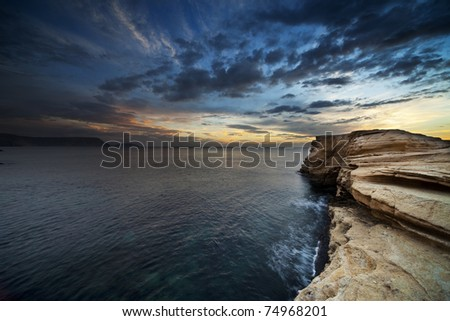 Sunset on the coast of the natural park of Cabo de Gata - stock photo