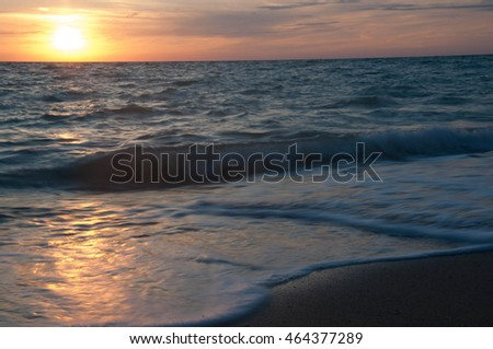Sunset on the coast. Sevastopol, Lyubimovka beach