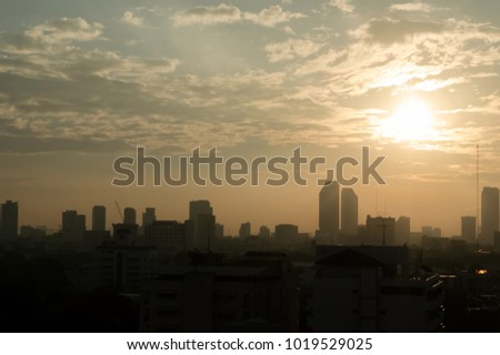 Sunset On the deck of Bangkok city thailand