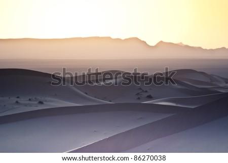 sunset on the desert - stock photo