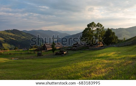 Sunset on the field in the Carpathians