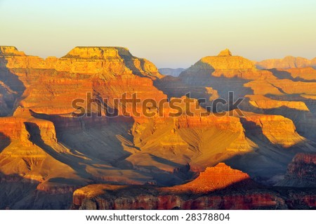 Sunset on the Grand Canyon near Mather Point and Yavapai Point. - stock photo