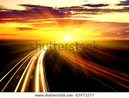 Sunset On The Highway. - stock photo