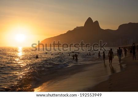 Sunset on the Ipanema Beach in Rio de Janeiro - stock photo