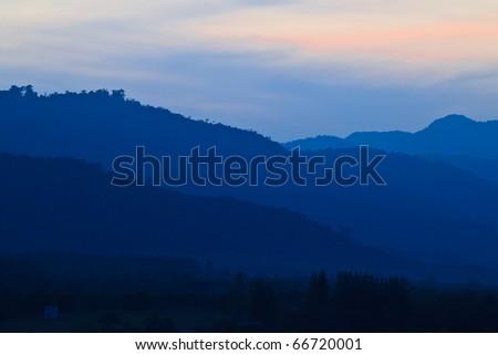 Sunset on the Khao Yai(Big mountains), Thailand - stock photo