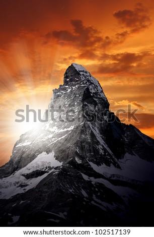 sunset on the Matterhorn - stock photo