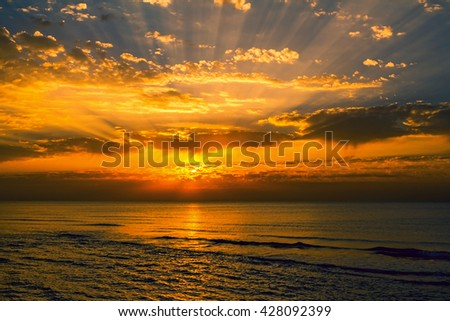 Sunset on the Mediterranean Sea - stock photo