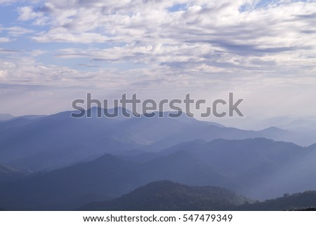 Sunset on the mountain in Doi Montngo, Mae Taeng, Chiang Mai, Thailand