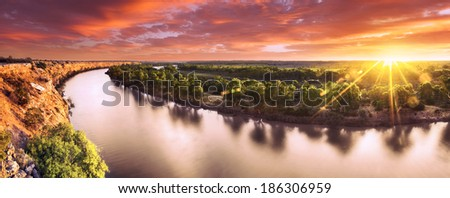 Sunset on the Murray River, South Australia - stock photo