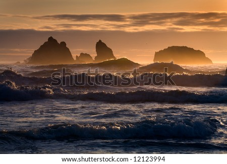Sunset on the Oregon coast - stock photo
