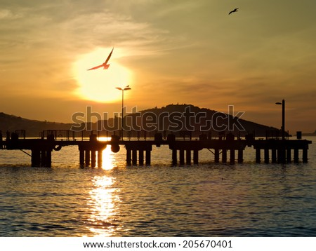 Sunset on the Princes' Islands. Turkey, Istanbul, the Marmara Sea. - stock photo
