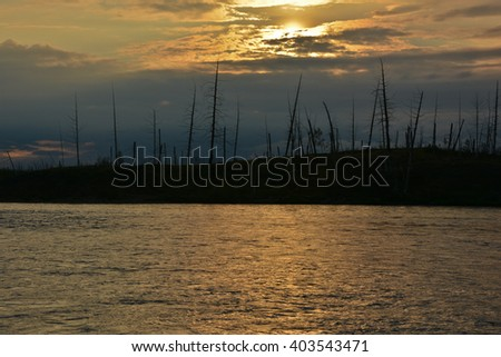 Sunset on the river Fishing near Norilsk. Sunset on the background of dry wood from the dead trees. - stock photo