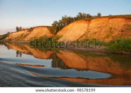 Sunset on the river Irtysh. Russia, Western Siberia - stock photo