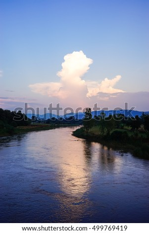 sunset on the river with cloud and blue sky.