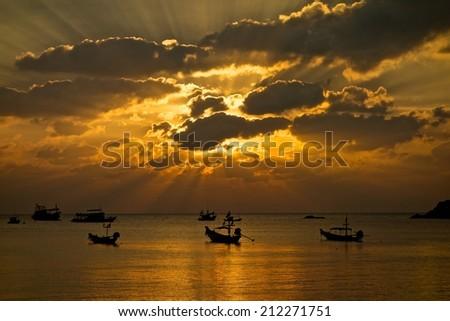 Sunset on the Samui island - stock photo