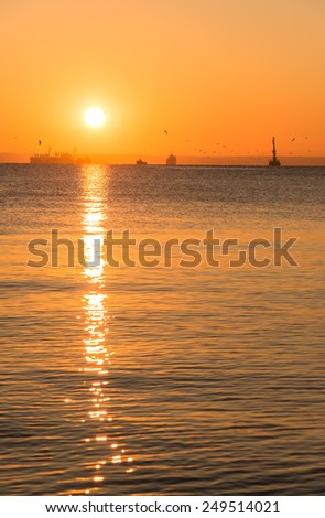 Sunset on the sea - stock photo