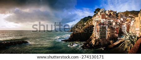 Sunset on the sea in Aerial view of Vernazza - small italian town in the province of La Spezia, Liguria, northwestern Italy - stock photo