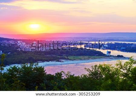 Sunset on the sea in Varna in Bulgaria - stock photo