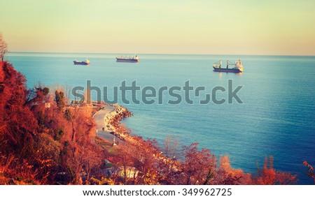 Sunset on the sea, landscape in winter Bulgaria - stock photo