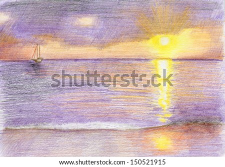Sunset on the seashore in Thailand. Pencil drawn landscape