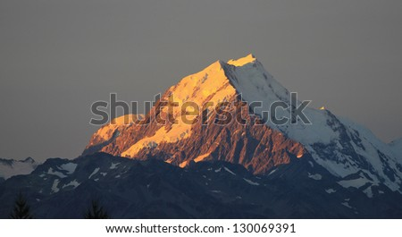 Sunset on the Summit of Mt. Cook in New Zealand - stock photo