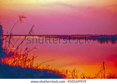 Sunset on the Zambezi River in Botswana Africa,digital oil painting