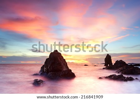 Sunset on tropical beach at Chonburi province - stock photo