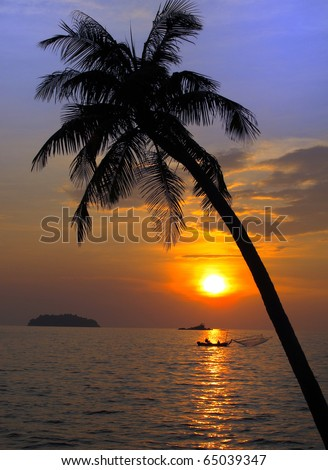 Sunset on tropical beach. Siam bay. Province Trat. Koh Chang island. Thailand - stock photo