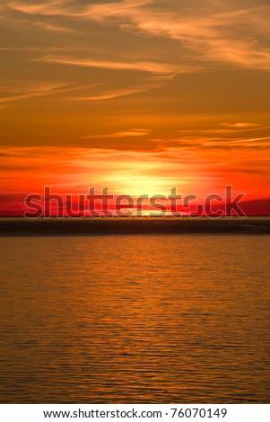 Sunset On Water - stock photo