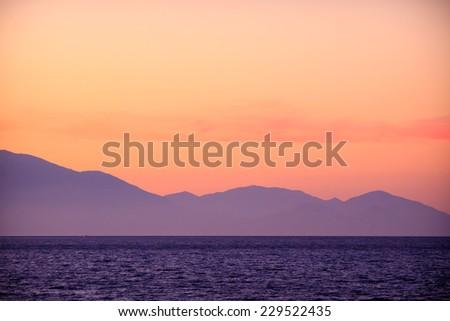 Sunset on Zakynthos island, Greece  - stock photo