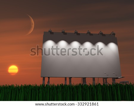 Sunset or sun rise billboard - stock photo