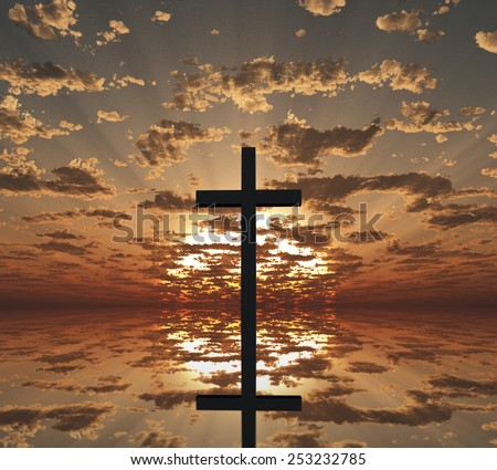 Sunset or sunrise with cross - stock photo