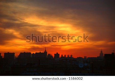 Sunset over a big city