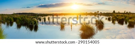 Sunset over a bog lake at the hautes fagnes, germany - stock photo