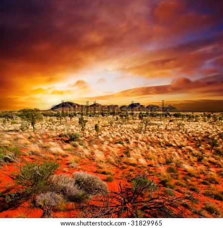 Sunset over a central Australian landscape - stock photo
