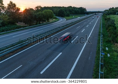 sunset over a german highway