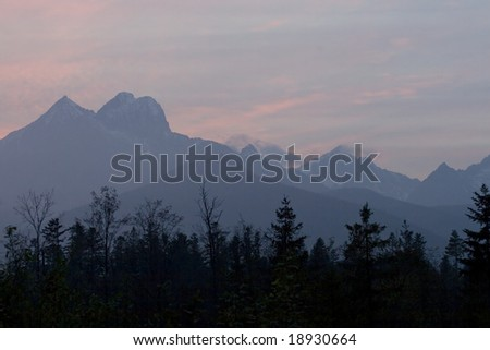 Sunset over a mountain ridge in the Tatra Mountains