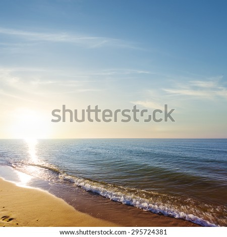 sunset over a sea - stock photo