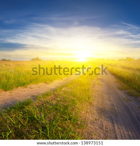 sunset over a steppe